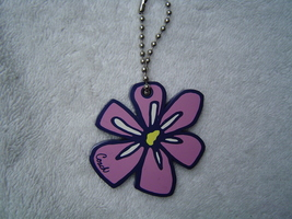 Authentic Coach Pink And Blue Acrylic Flower Key CHAIN/HANG Tag Euc - $19.80