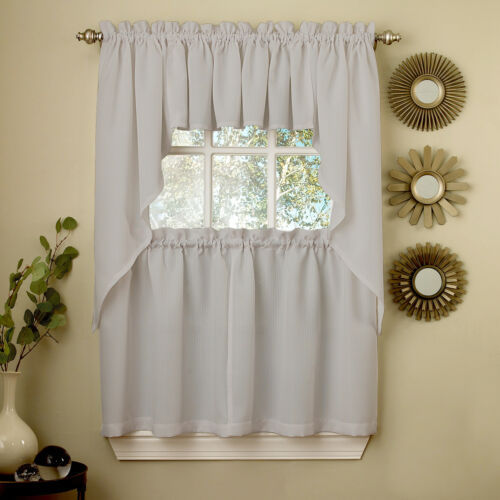 Primary image for Gray Opaque Solid Ribcord Kitchen Curtains Choice of Tier Valance or Swag