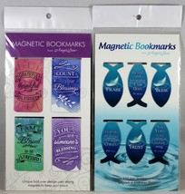Magnetic Bookmarks 10 Set NEW Colorful Rectangle And Fish Bible Messages... - $10.19