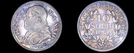 1869-XXIIIR Italian States Papal States 10 Soldi World Silver Coin - Piu... - $24.99