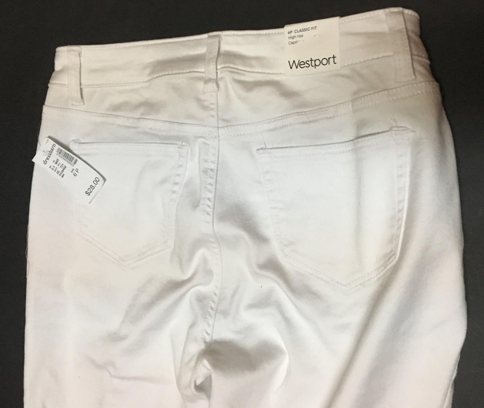 Westport Classic Capri Jeans White Sz 6P NWT