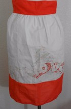 Orange White Kitchen Embroidered Waist Apron Unfinished Apples Cinnamon - $11.88