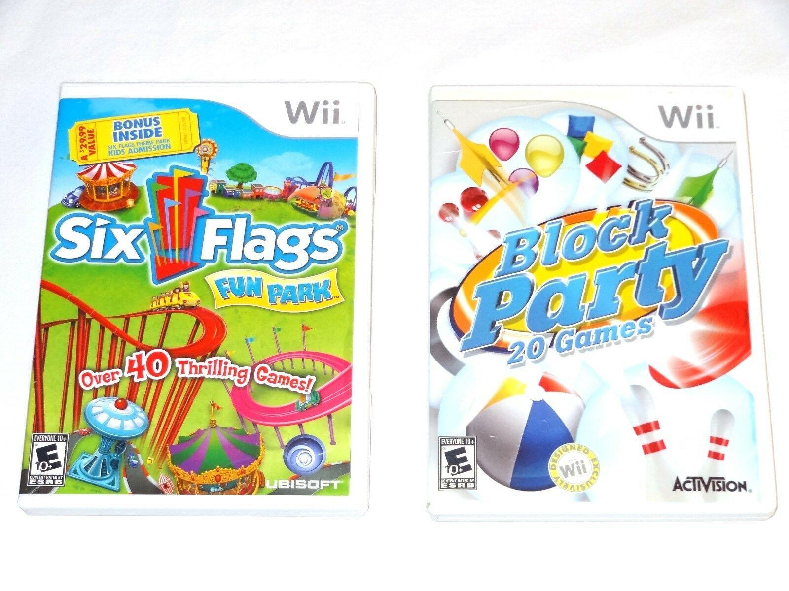 Six Flags Fun Park - Nintendo Wii UBI Soft + Block Party 20 Games Activision