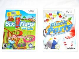 Six Flags Fun Park - Nintendo Wii UBI Soft + Block Party 20 Games Activi... - $6.64