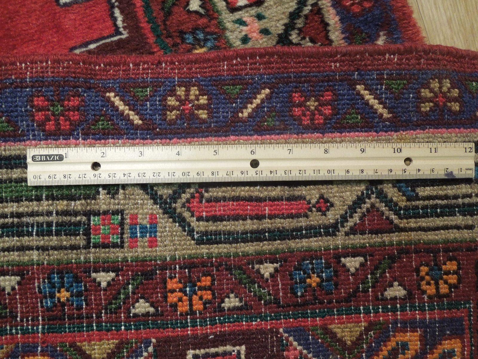 Pink Hamadan Persian Wool Handmade Rug 3x9 All-Over Geometric Rug image 8