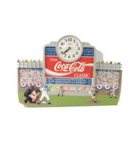 Vintage 90s Coca Cola Company Spell Out Baseball Hanging Wall Clock Man ... - $123.70