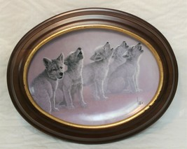 Bradford Exchange Plate The Wild Bunch Wolf Pups Soul Music Lee Cable Wood Frame - $39.99