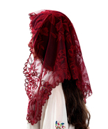 Mantilla For Catholic Latin Mass Burgundy Lace Chapel Veil Head Scarf Co... - $19.87
