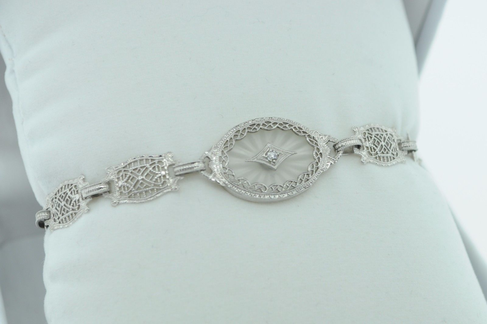 "Art Deco (ca. 1930) 10K White Gold Diamond & Etched Glass Bracelet (6 3/4"") image 5"