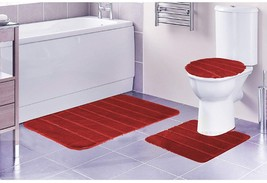 Louise Ribbed 3 Piece Bathroom Rug Set, Bath Rug, Contour Rug, Lid Cover... - $32.59