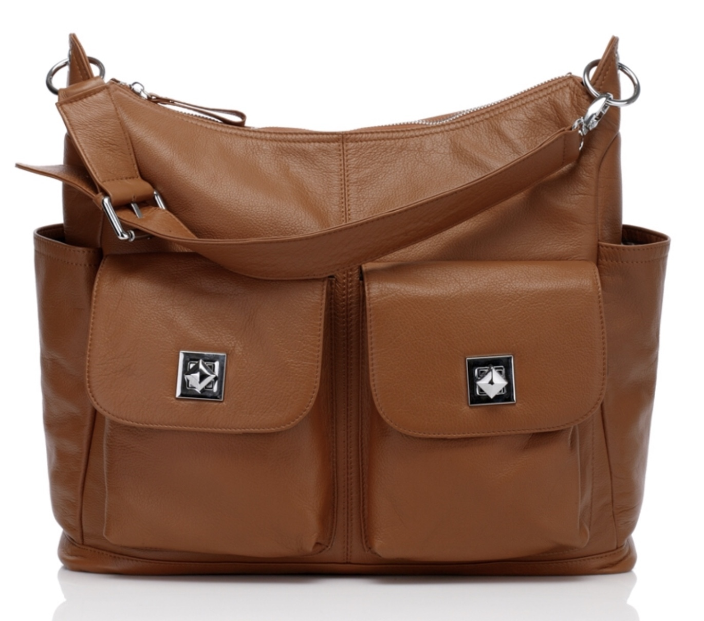 New Brown Pebbled Italian Leather Diaper Nappy Bag Mommy Bag Tote