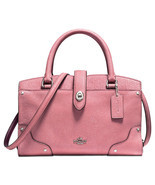 NWT COACH MERCER 24 GRAIN LEATHER SATCHEL Glitter Rose red silver crossbody - $289.99