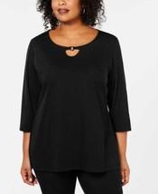 Karen Scott Woman's  Cutout-Neck Tunic (Black, 2X) - $24.75
