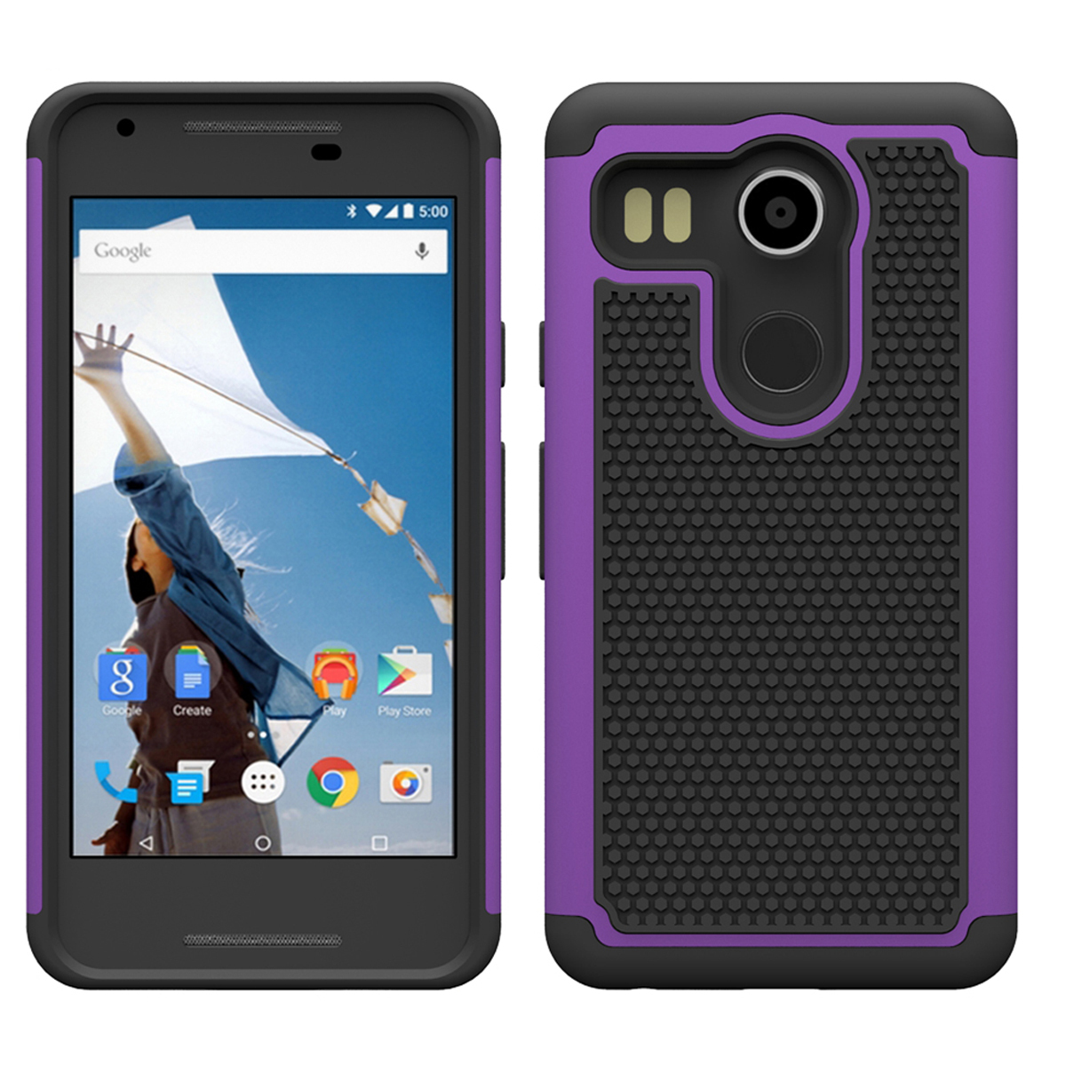 Hock absorbing dual layer hybrid protective armor case for lg nexus 5x purple p20151116160118214