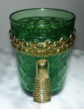 EAPG U.S. Glass Vermont Emerald Green Tumbler with Gold Decoration - $70.13