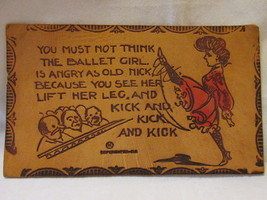 Antique Hand Colored Leather Postcard, Burlesque Dancer with High Kick, ... - $9.99