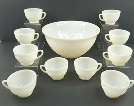 Anchor Hocking Sandwich White Milk Glass Punch Bowl 10 Cup Vintage Glass... - $59.07