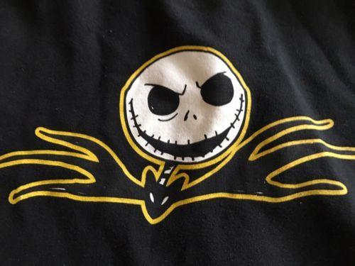 Nightmare Before Christmas Jack Skellington Face Black Zip Up Hoodie XL + Yellow