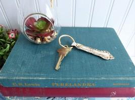 Spoon Handle Key Ring MSC Silver Plated Pretty Floral Key Fob Stocking Stuffer - $18.00