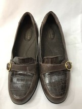 """Clark's Bendables Brown Leather Croc Embossed Loafers with 2"""" Heels Size... - $15.83"""