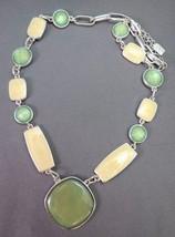 """Vintage Anne Klein Necklace 18"""" Silver Tone Link Green & Yellow Briolett... - $19.99"""