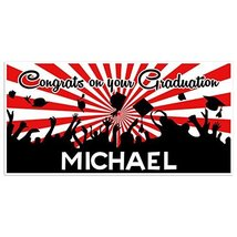 Red And White Graduation Banner Personalized Class of 2018 Party Backdrop - £17.34 GBP