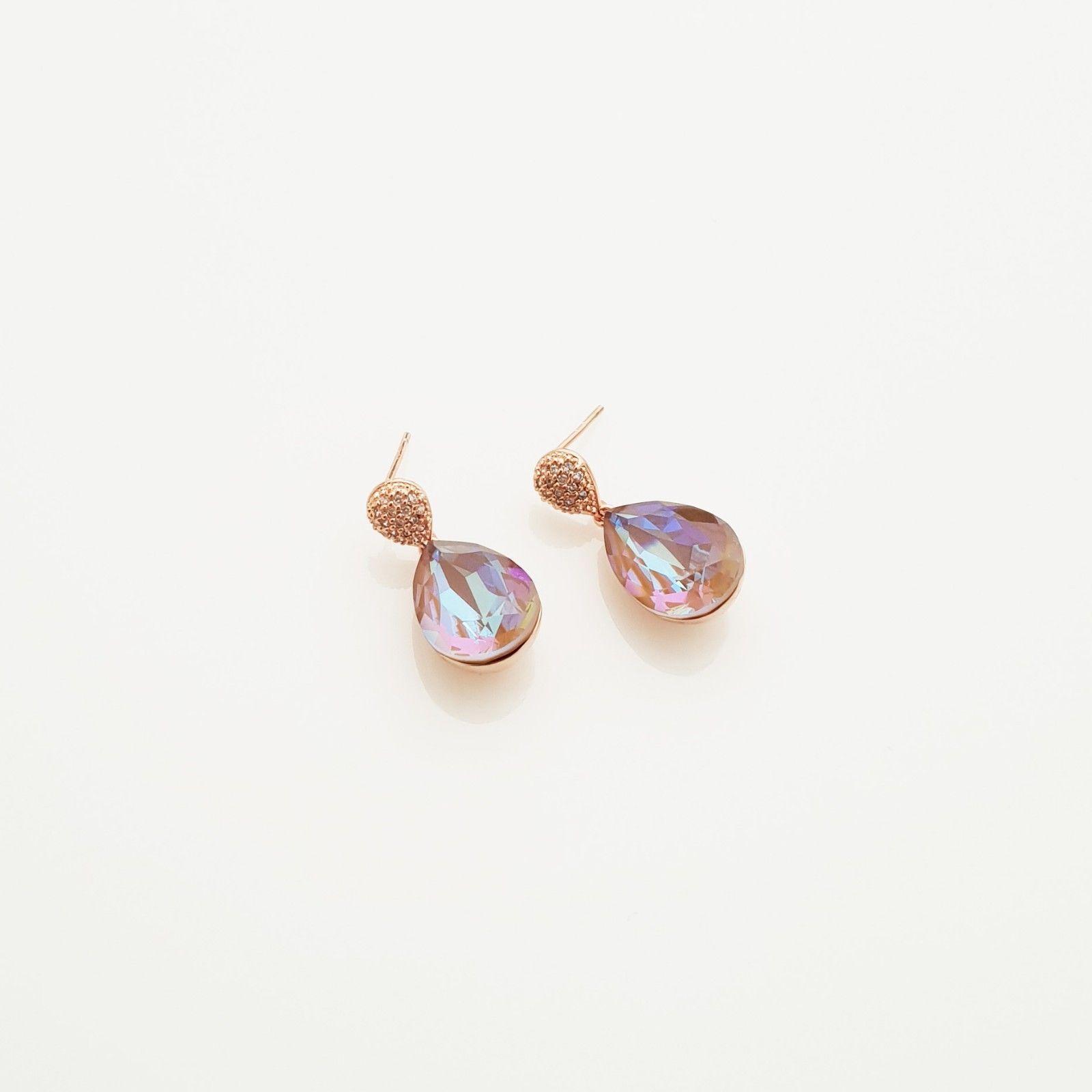 Water Drop Aurora Borealis Made With Swarovski Stone Dangle Earrings 925 Silver image 5