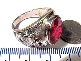 RING  RUBY 10 STERLING silver 925 MEN BOLD ELEGANT SIMPLE NICE UNISEX DR... - £56.04 GBP