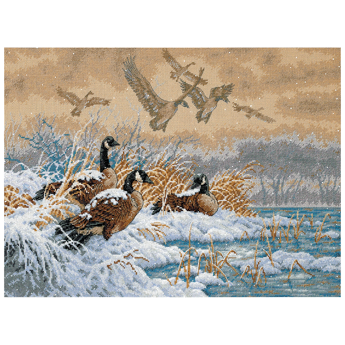 """Dimensions Gold Collection Counted Cross Stitch Kit 16""""X12""""-Winter Retreat - $40.75"""