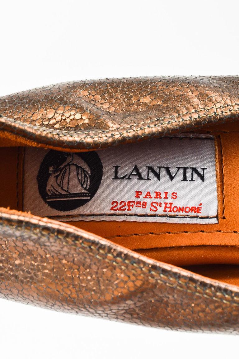 Lanvin NIB Bronze Leather Embossed Ballerina Flats SZ 36