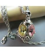 Joan Rivers Lantern Pendant Pastel Rhinestone Necklace Silver Chain Desi... - $39.59