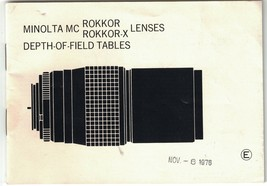 Minolta MC Rokkor & Rokkor-X Lenses Depth-Of-Field Tables Booklet, Feet ... - $8.60