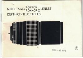 Minolta MC Rokkor & Rokkor-X Lenses Depth-Of-Field Tables Booklet, Feet ... - $8.60
