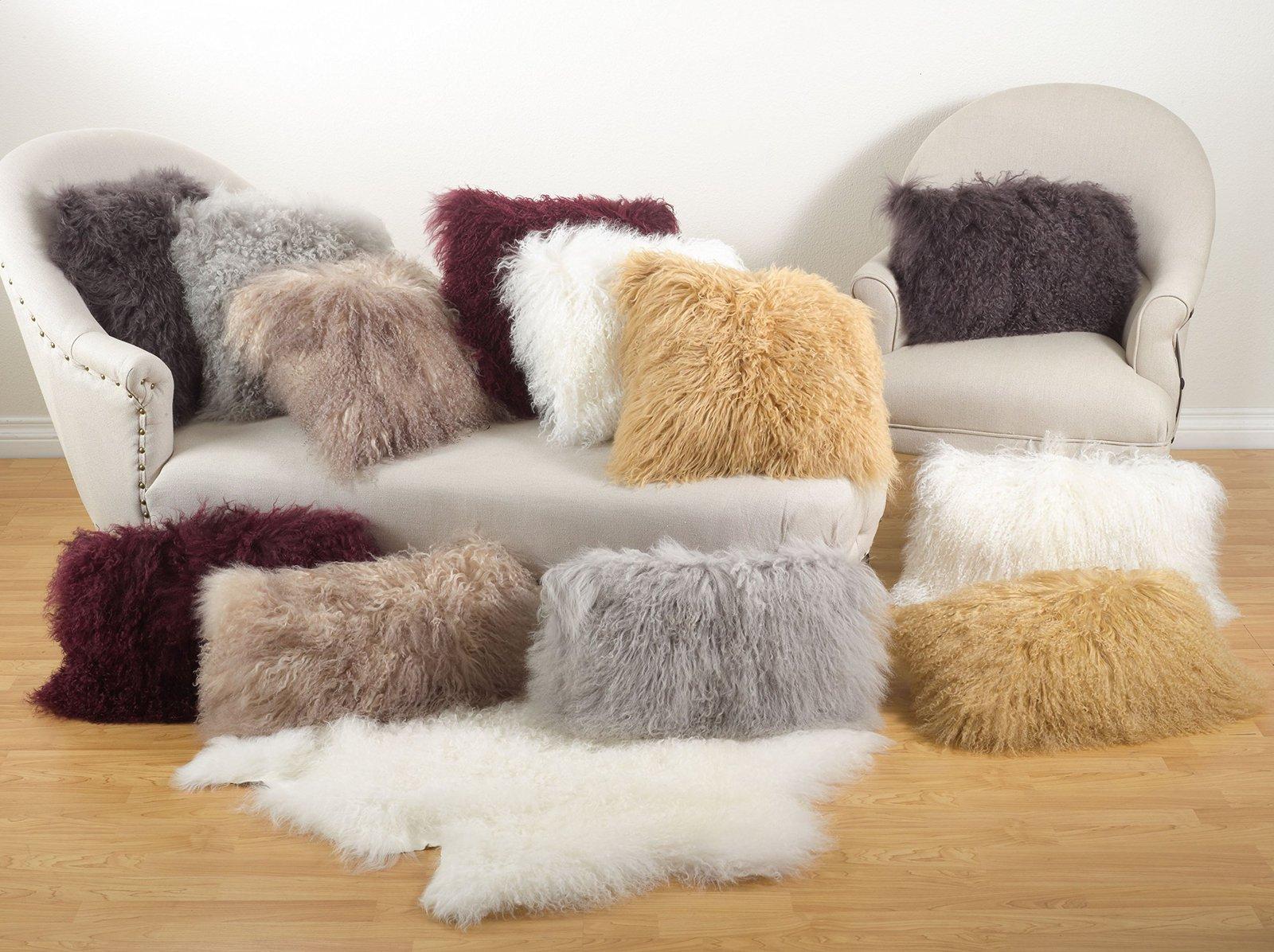 Fennco Styles Genuine Mongolian Lamb Fur Down Filled Decorative Throw Pillow, Ma
