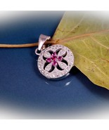 Christmas Gift Sterling Silver Circle Pendant with CZ, Delicate pendant - $21.00