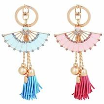 Fashion Keychains Shiny Rhinestone Fan Shaped Bead Tassel Pendant Enamel... - $8.05
