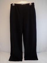 Women's Jogging Pants Talbots Petites Sz Large Black w/ Ankle Zippers - $8.90