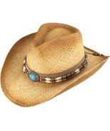 Henschel Raffia Aussie Cowgirl Hat Barrel Beads Turquoise Concho Natural   - $43.00