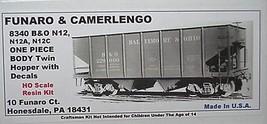Funaro & Camerlengo HO B&O N12, N112A, N12C Twin Hopper ONE PIECE BODY Kit 8340  image 1