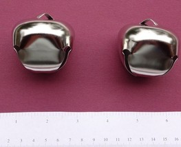 4 ea JUMBO Metal JINGLE BELL 2 inch Platinum Color Good for Wreath Porch Chimes - $8.80