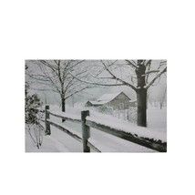 "Northlight Small Fiber Optic Snowy Winter Cabin Canvas Wall Art 11.75"" x... - $27.22"