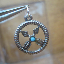 Silver Bracelet Charm  DREAM CATCHER Crossed Arrows Friendship Symbol 1970s - $34.65