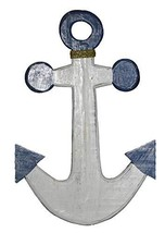 Rustic Nautical Hand Carved Anchor Blue And White Boat Ship Fishing Wall Art Tik - $24.69