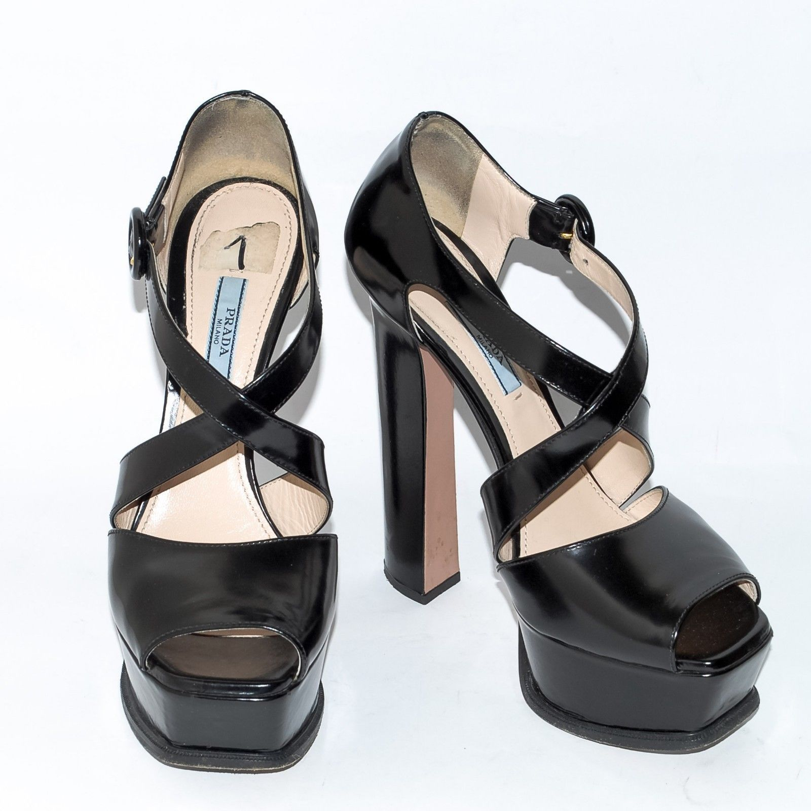 d3d67b4acb4 PRADA Black Patent Leather High Heel Sandals and 50 similar items
