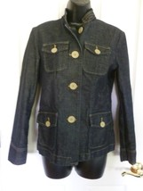 GAP Denim Jacket,  Size 4, Dark Wash w/ Tan Buttons, Jean Jacket,   C8 - $17.56