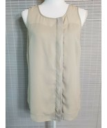 Ann Taylor Women's 8 Beige Sheer Lined Sleeveless Button Up Blouse Top L... - $14.55