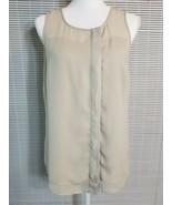 Ann Taylor Women's 8 Beige Sheer Lined Sleeveless Button Up Blouse Top L... - $14.55
