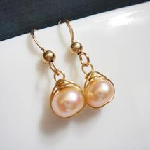 Gold Pearl Bridal Earrings - Peach Freshwater Bridal Jewelry - $22.00+