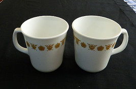 Butterfly Gold Corelle by Corning Coffee Tea Cups Two Handled Mugs Pyrex... - $12.86