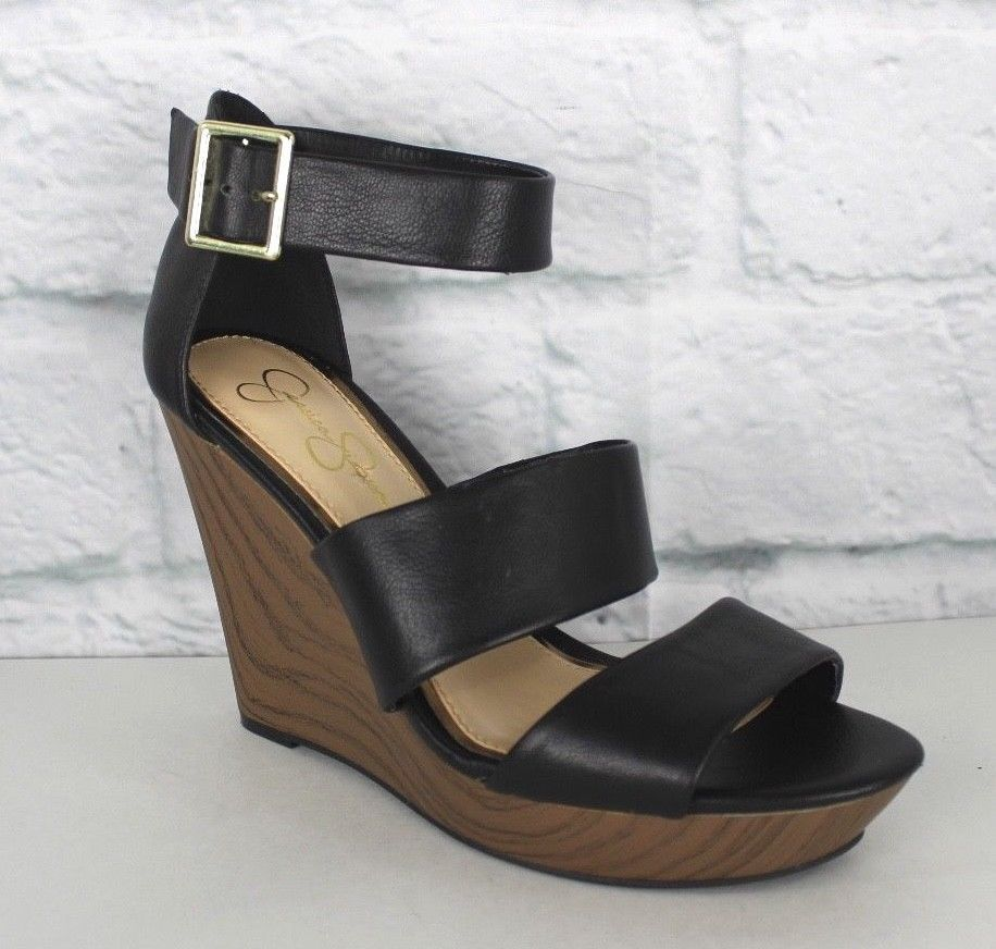 Primary image for Jessica Simpson pump wedge high sandals black peep toe size 9.5 M